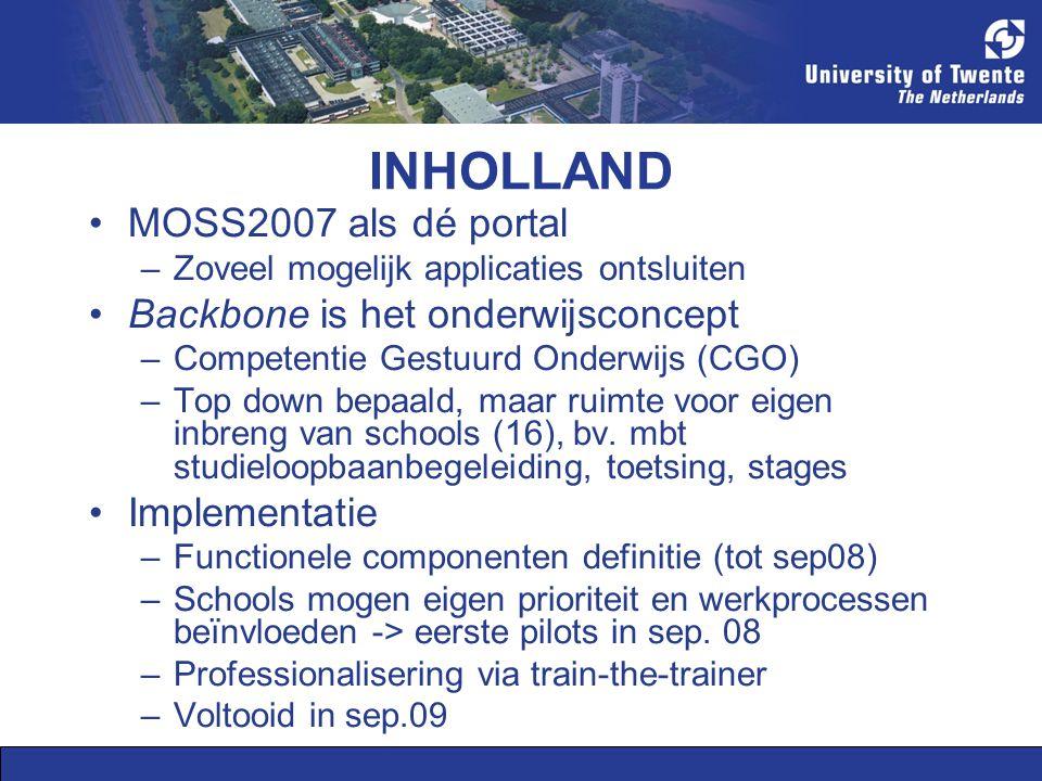 TU/e DLWO nu: –VUBIS –OWIS –Studyweb –Outlook / Exchange Exchange (public folders) vervangen door MOSS2007