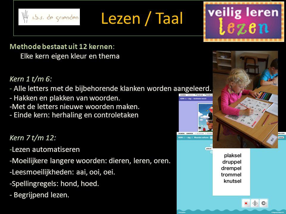 Lezen / Taal Methode bestaat uit 12 kernen: Elke kern eigen kleur en thema Kern 1 t/m 6: - Alle letters met de bijbehorende klanken worden aangeleerd.