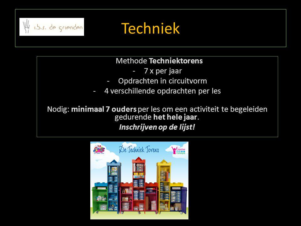 Techniek Methode Techniektorens -7 x per jaar -Opdrachten in circuitvorm -4 verschillende opdrachten per les Nodig: minimaal 7 ouders per les om een a
