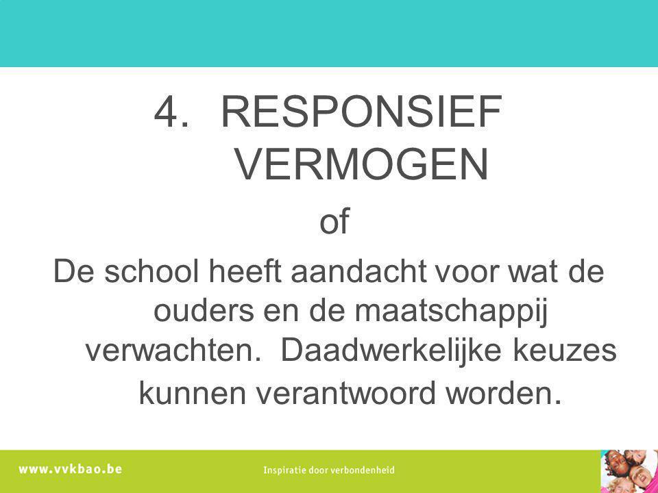 4.RESPONSIEF VERMOGEN of De school heeft aandacht voor wat de ouders en de maatschappij verwachten. Daadwerkelijke keuzes kunnen verantwoord worden.
