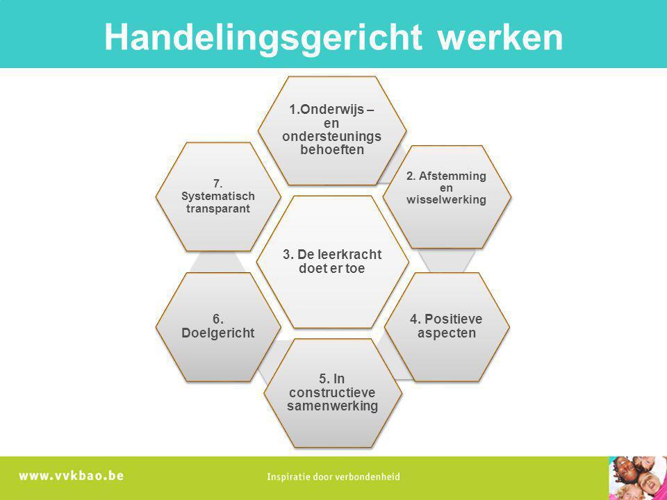 3. De leerkracht doet er toe 1.Onderwijs – en ondersteunings behoeften 2. Afstemming en wisselwerking 4. Positieve aspecten 5. In constructieve samenw