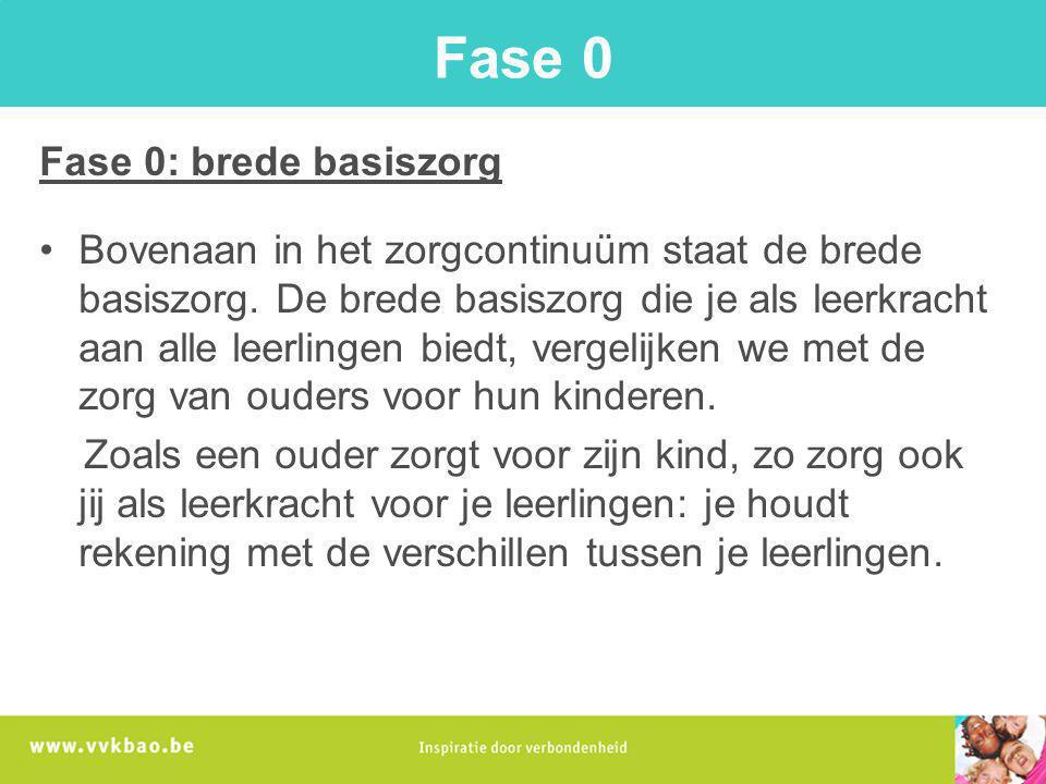 Fase 0 Fase 0: brede basiszorg Bovenaan in het zorgcontinuüm staat de brede basiszorg. De brede basiszorg die je als leerkracht aan alle leerlingen bi