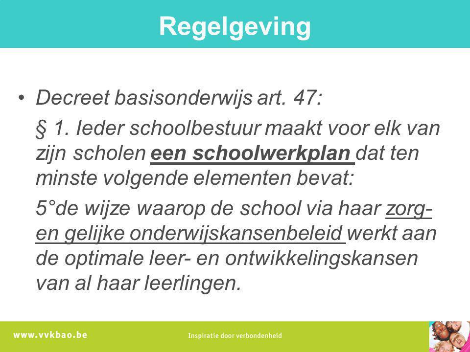 Regelgeving Decreet basisonderwijs art. 47: § 1. Ieder schoolbestuur maakt voor elk van zijn scholen een schoolwerkplan dat ten minste volgende elemen