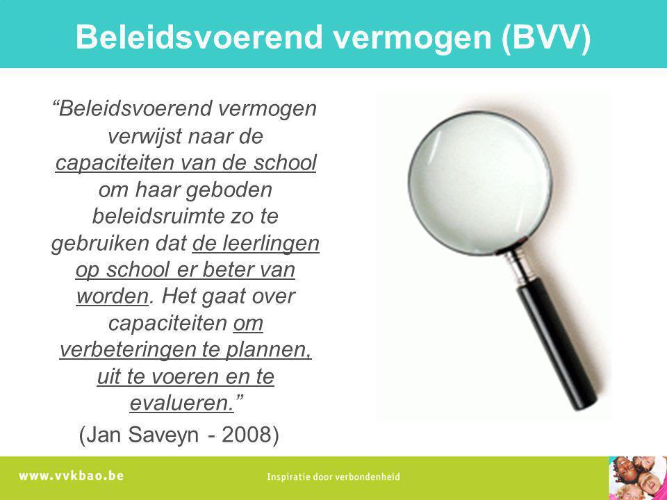 """Beleidsvoerend vermogen (BVV) """"Beleidsvoerend vermogen verwijst naar de capaciteiten van de school om haar geboden beleidsruimte zo te gebruiken dat d"""