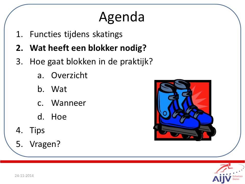 Agenda 1.Functies tijdens skatings 2.Wat heeft een blokker nodig? 3.Hoe gaat blokken in de praktijk? a.Overzicht b.Wat c.Wanneer d.Hoe 4.Tips 5.Vragen