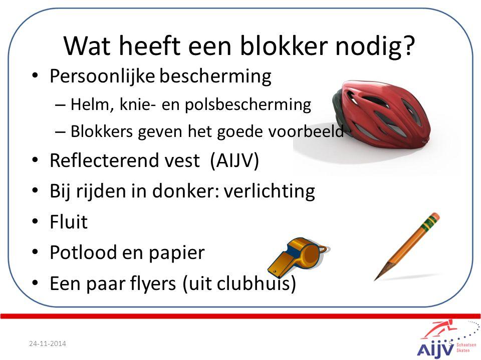 Persoonlijke bescherming – Helm, knie- en polsbescherming – Blokkers geven het goede voorbeeld Reflecterend vest (AIJV) Bij rijden in donker: verlicht