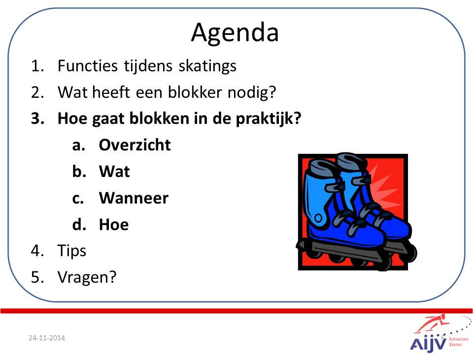Agenda 1.Functies tijdens skatings 2.Wat heeft een blokker nodig.