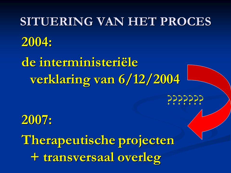 SITUERING VAN HET PROCES 2004: de interministeriële verklaring van 6/12/2004 2007: Therapeutische projecten + transversaal overleg