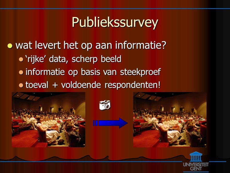 Publiekssurvey wat levert het op aan informatie. wat levert het op aan informatie.