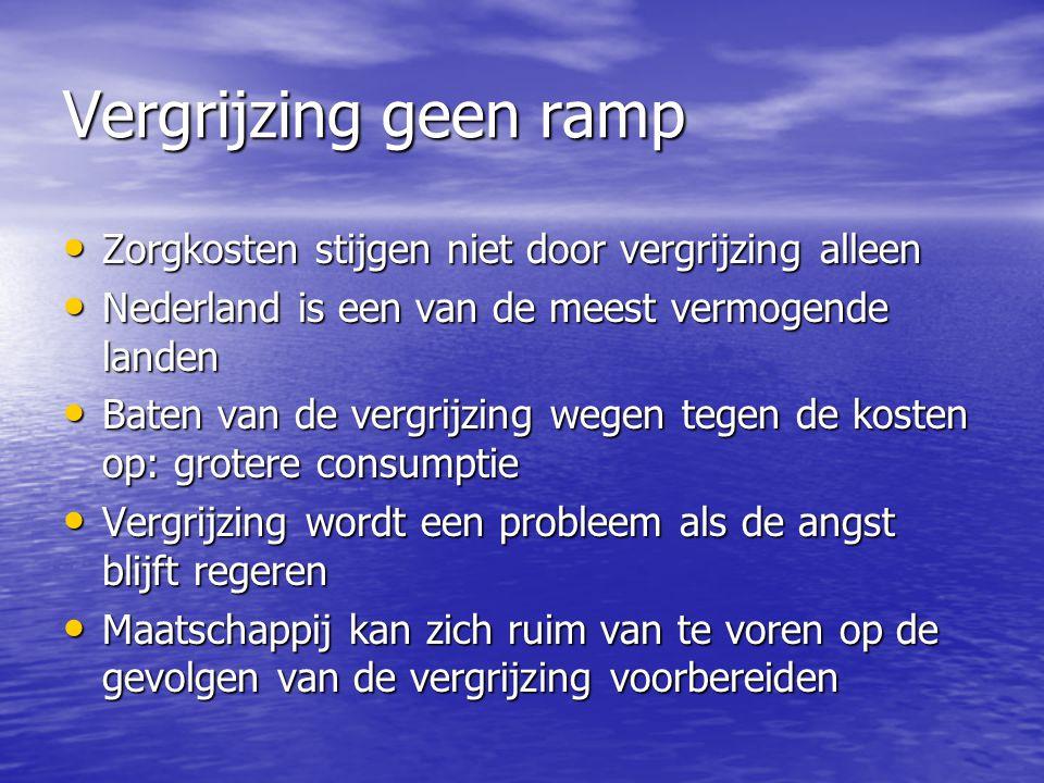 Vergrijzing geen ramp Zorgkosten stijgen niet door vergrijzing alleen Zorgkosten stijgen niet door vergrijzing alleen Nederland is een van de meest ve