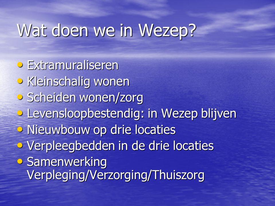 Wat doen we in Wezep? Extramuraliseren Extramuraliseren Kleinschalig wonen Kleinschalig wonen Scheiden wonen/zorg Scheiden wonen/zorg Levensloopbesten