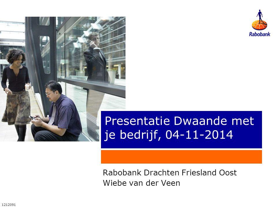 1212091 Presentatie Dwaande met je bedrijf, 04-11-2014 Rabobank Drachten Friesland Oost Wiebe van der Veen