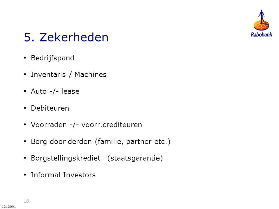 18 1212091 5. Zekerheden Bedrijfspand Inventaris / Machines Auto -/- lease Debiteuren Voorraden -/- voorr.crediteuren Borg door derden (familie, partn
