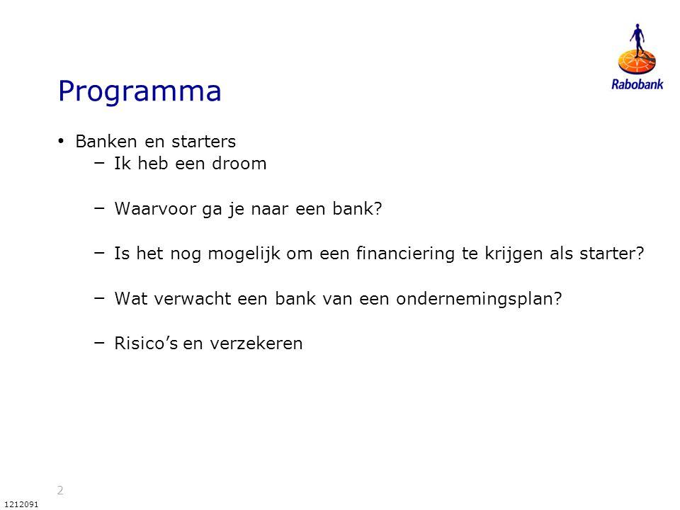 2 1212091 Programma Banken en starters – Ik heb een droom – Waarvoor ga je naar een bank? – Is het nog mogelijk om een financiering te krijgen als sta