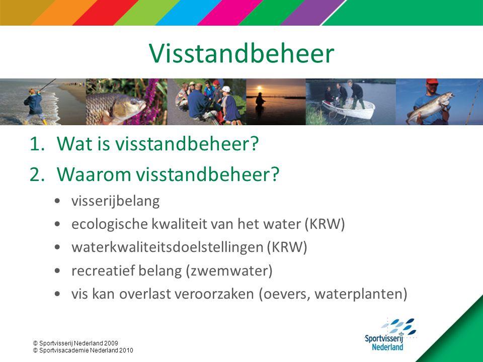 © Sportvisserij Nederland 2009 © Sportvisacademie Nederland 2010 Visstandbeheer 1.Wat is visstandbeheer? 2.Waarom visstandbeheer? visserijbelang ecolo