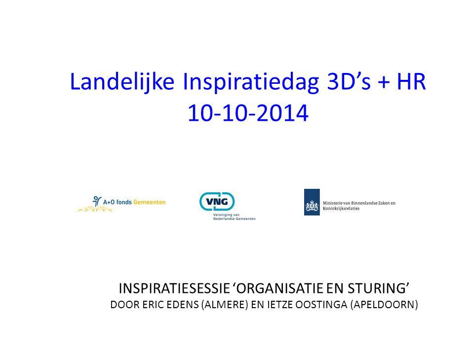 Landelijke Inspiratiedag 3D's + HR 10-10-2014 INSPIRATIESESSIE 'ORGANISATIE EN STURING' DOOR ERIC EDENS (ALMERE) EN IETZE OOSTINGA (APELDOORN)