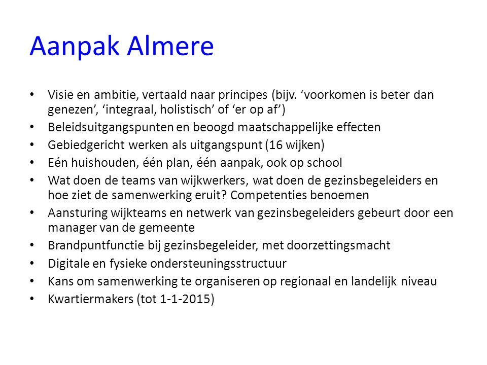 Aanpak Almere Visie en ambitie, vertaald naar principes (bijv. 'voorkomen is beter dan genezen', 'integraal, holistisch' of 'er op af') Beleidsuitgang