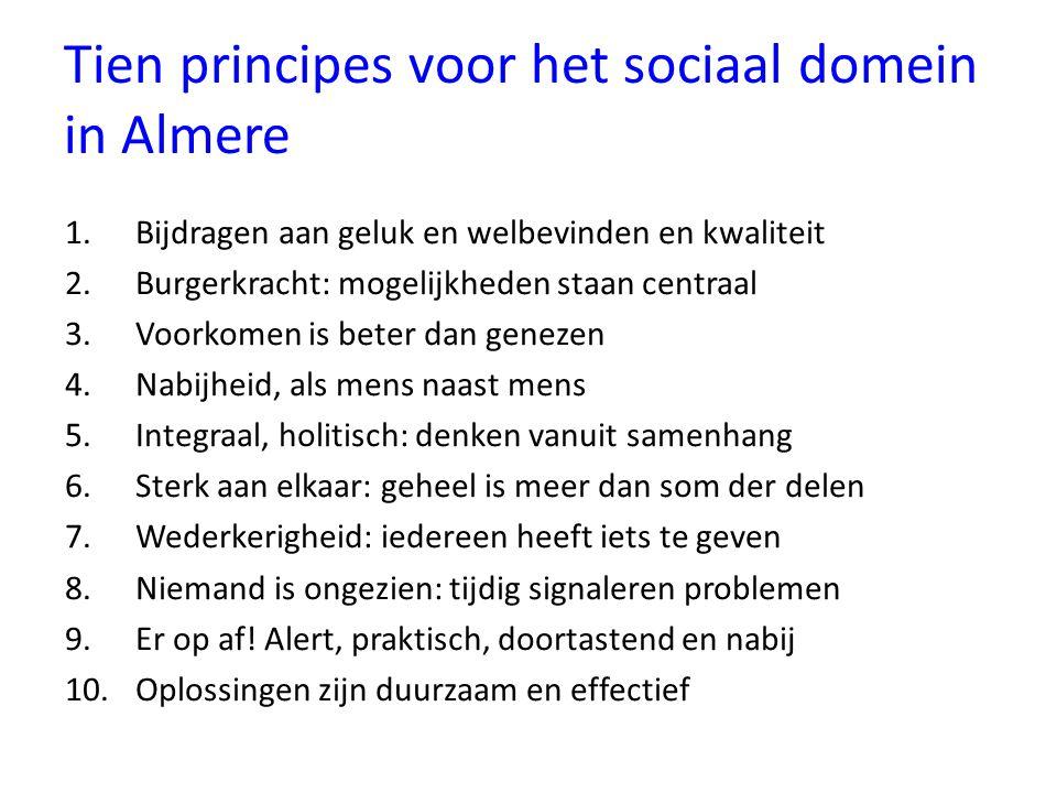 Tien principes voor het sociaal domein in Almere 1.Bijdragen aan geluk en welbevinden en kwaliteit 2.Burgerkracht: mogelijkheden staan centraal 3.Voor