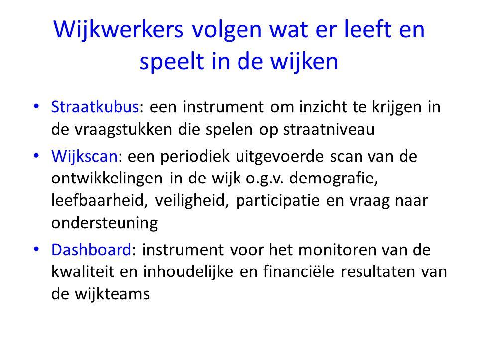 Wijkwerkers volgen wat er leeft en speelt in de wijken Straatkubus: een instrument om inzicht te krijgen in de vraagstukken die spelen op straatniveau Wijkscan: een periodiek uitgevoerde scan van de ontwikkelingen in de wijk o.g.v.