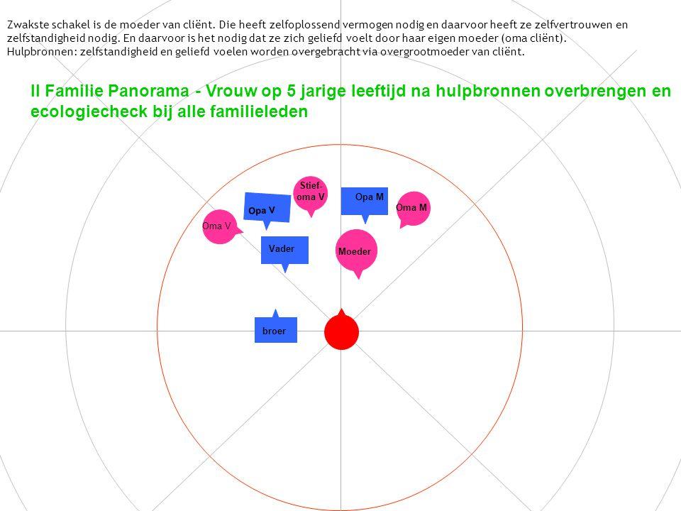 II Familie Panorama - Vrouw op 5 jarige leeftijd na hulpbronnen overbrengen en ecologiecheck bij alle familieleden Zwakste schakel is de moeder van cliënt.
