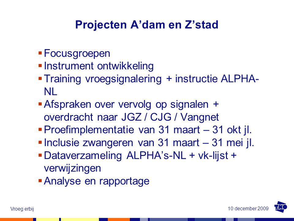 10 december 2009 Vroeg erbij  Focusgroepen  Instrument ontwikkeling  Training vroegsignalering + instructie ALPHA- NL  Afspraken over vervolg op s