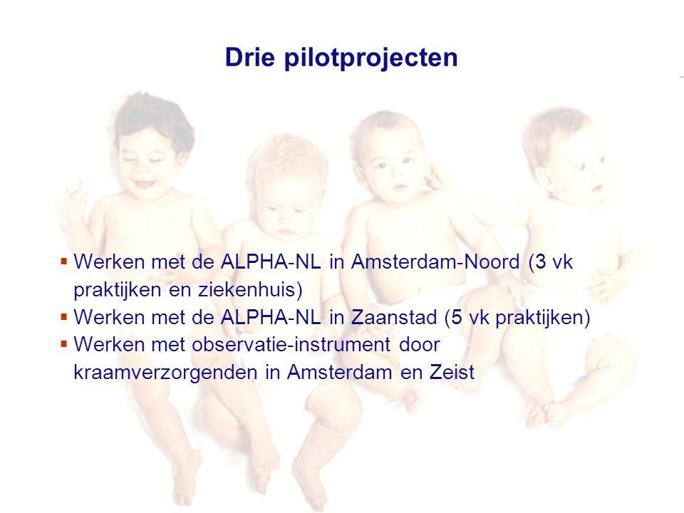 10 december 2009 Vroeg erbij Drie pilotprojecten  Werken met de ALPHA-NL in Amsterdam-Noord (3 vk praktijken en ziekenhuis)  Werken met de ALPHA-NL