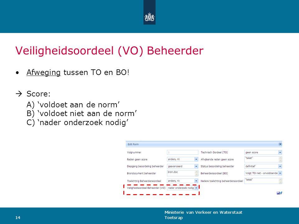 Ministerie van Verkeer en Waterstaat Toetsrap14 Veiligheidsoordeel (VO) Beheerder Afweging tussen TO en BO.