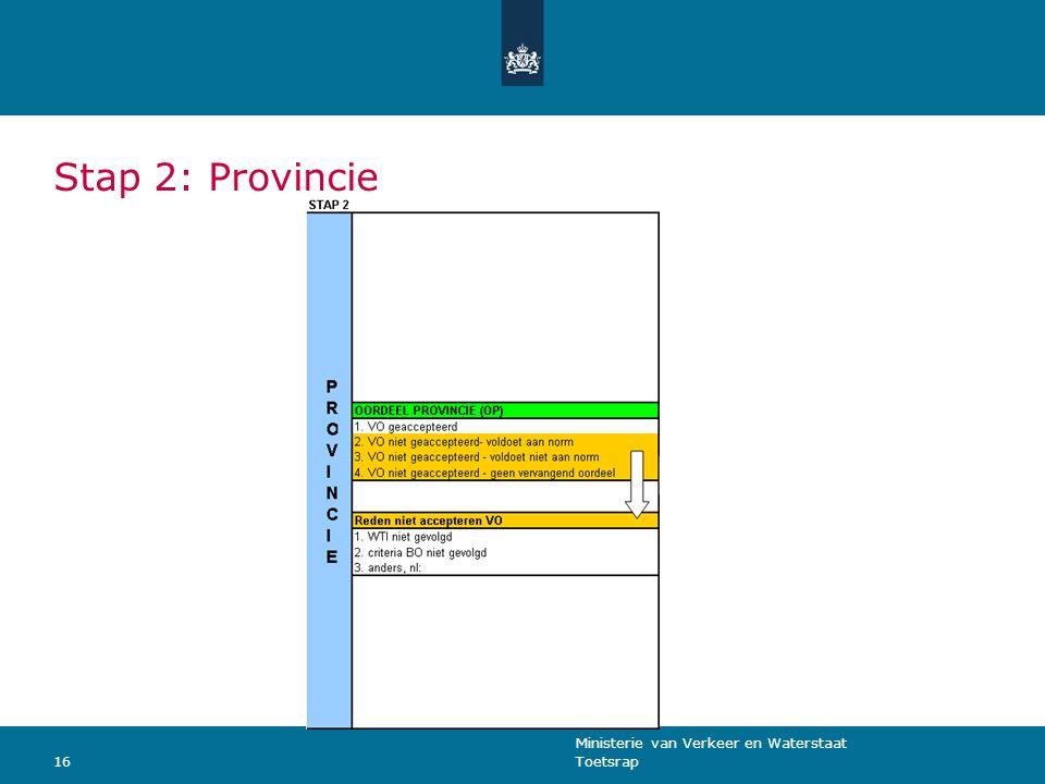 Ministerie van Verkeer en Waterstaat Toetsrap16 Stap 2: Provincie