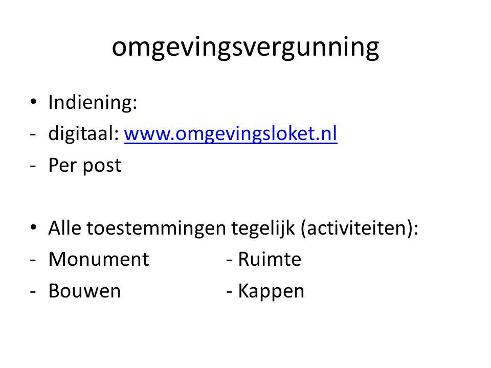 omgevingsvergunning Indiening: -digitaal: www.omgevingsloket.nlwww.omgevingsloket.nl -Per post Alle toestemmingen tegelijk (activiteiten): -Monument -