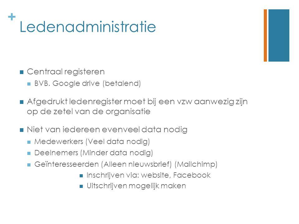 + Ledenadministratie Centraal registeren BVB. Google drive (betalend) Afgedrukt ledenregister moet bij een vzw aanwezig zijn op de zetel van de organi
