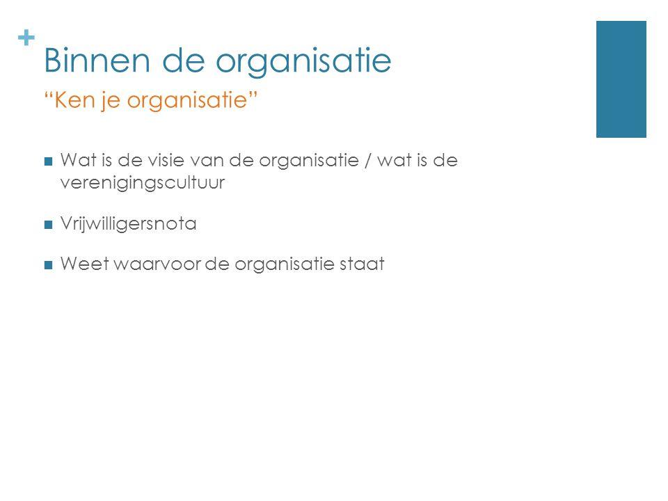 """+ Binnen de organisatie Wat is de visie van de organisatie / wat is de verenigingscultuur Vrijwilligersnota Weet waarvoor de organisatie staat """"Ken je"""