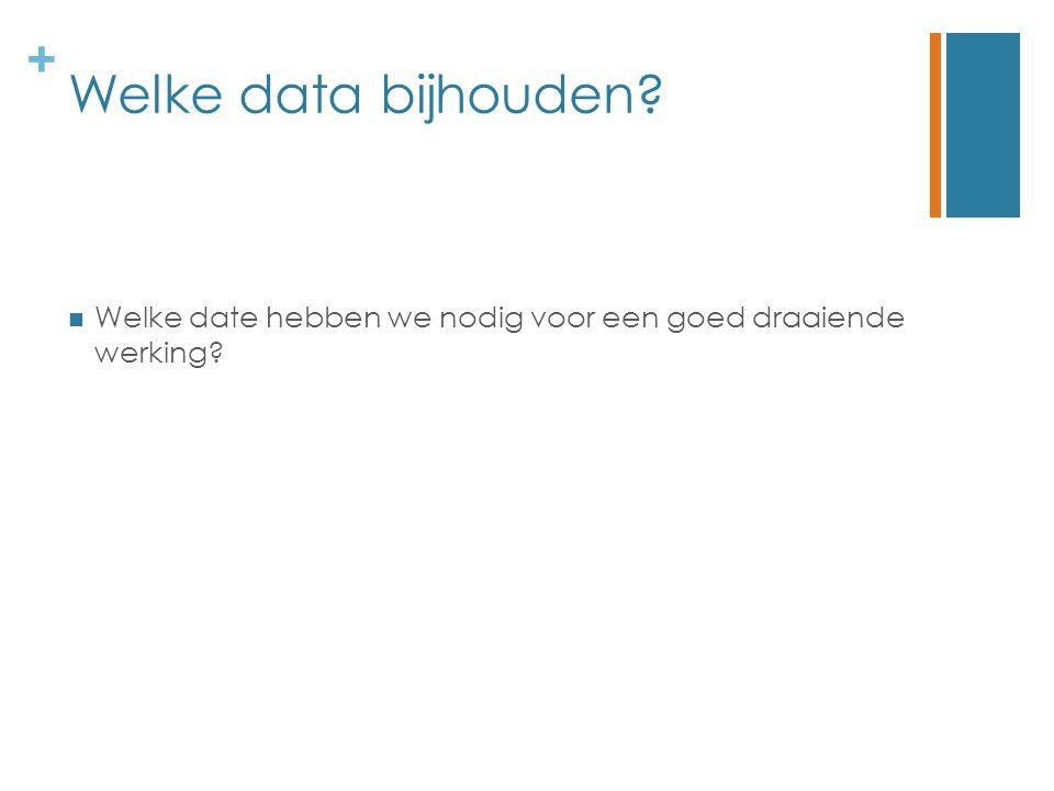 + Welke data bijhouden? Welke date hebben we nodig voor een goed draaiende werking?