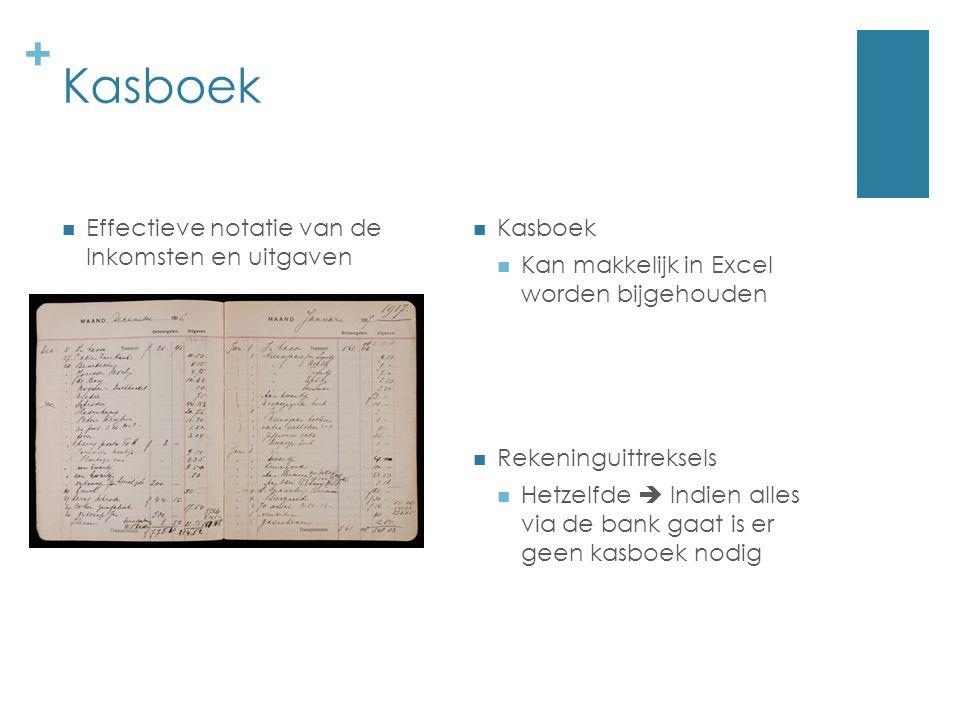 + Kasboek Kan makkelijk in Excel worden bijgehouden Effectieve notatie van de Inkomsten en uitgaven Rekeninguittreksels Hetzelfde  Indien alles via d