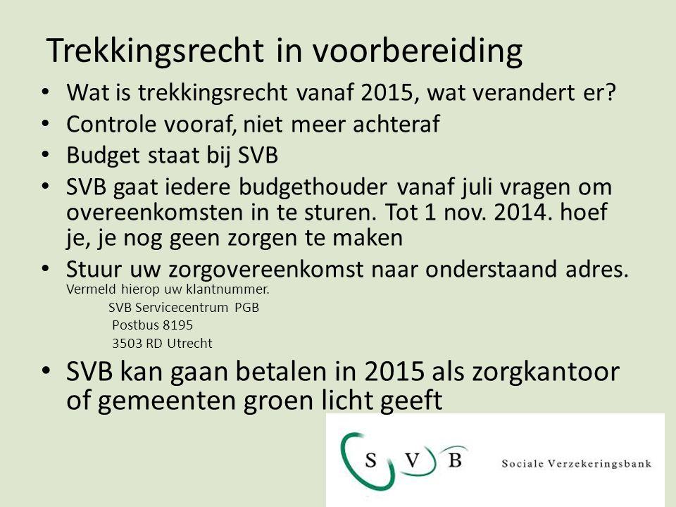Trekkingsrecht in voorbereiding Wat is trekkingsrecht vanaf 2015, wat verandert er.