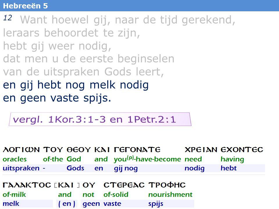 11 12 Want hoewel gij, naar de tijd gerekend, leraars behoordet te zijn, hebt gij weer nodig, dat men u de eerste beginselen van de uitspraken Gods le