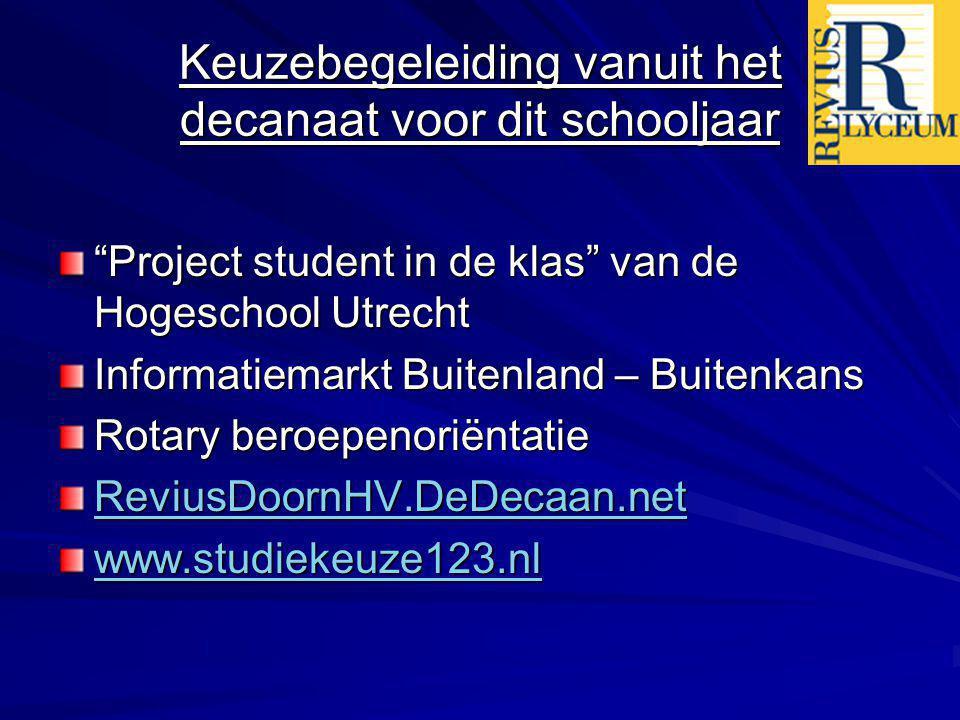 Enkele belangrijke data 24 november- Project student in de klas van de Hogeschool Utrecht 25 november - informatiemarkt Buitenland-Buitenkans (Cals College Nieuwegein) 10 februari- Rotary beroepenoriëntatie 10 februari- uiterste inleverdatum min.