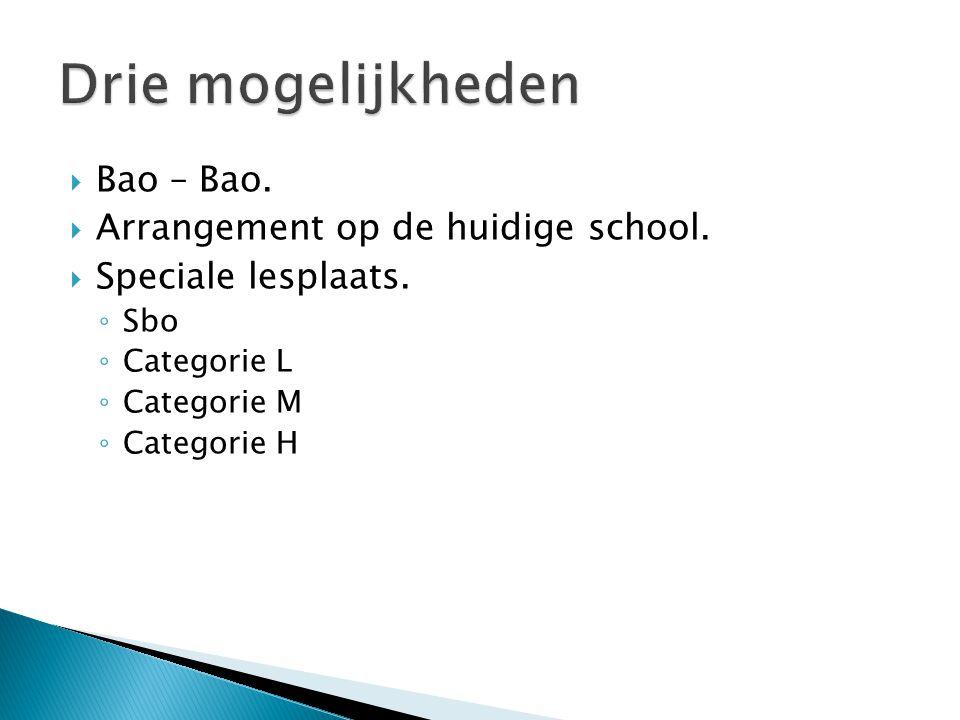  Bao – Bao.  Arrangement op de huidige school.  Speciale lesplaats. ◦ Sbo ◦ Categorie L ◦ Categorie M ◦ Categorie H