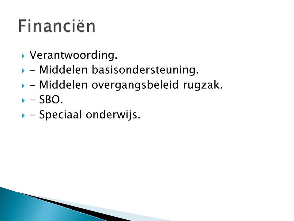  Verantwoording.  - Middelen basisondersteuning.  - Middelen overgangsbeleid rugzak.  - SBO.  - Speciaal onderwijs.