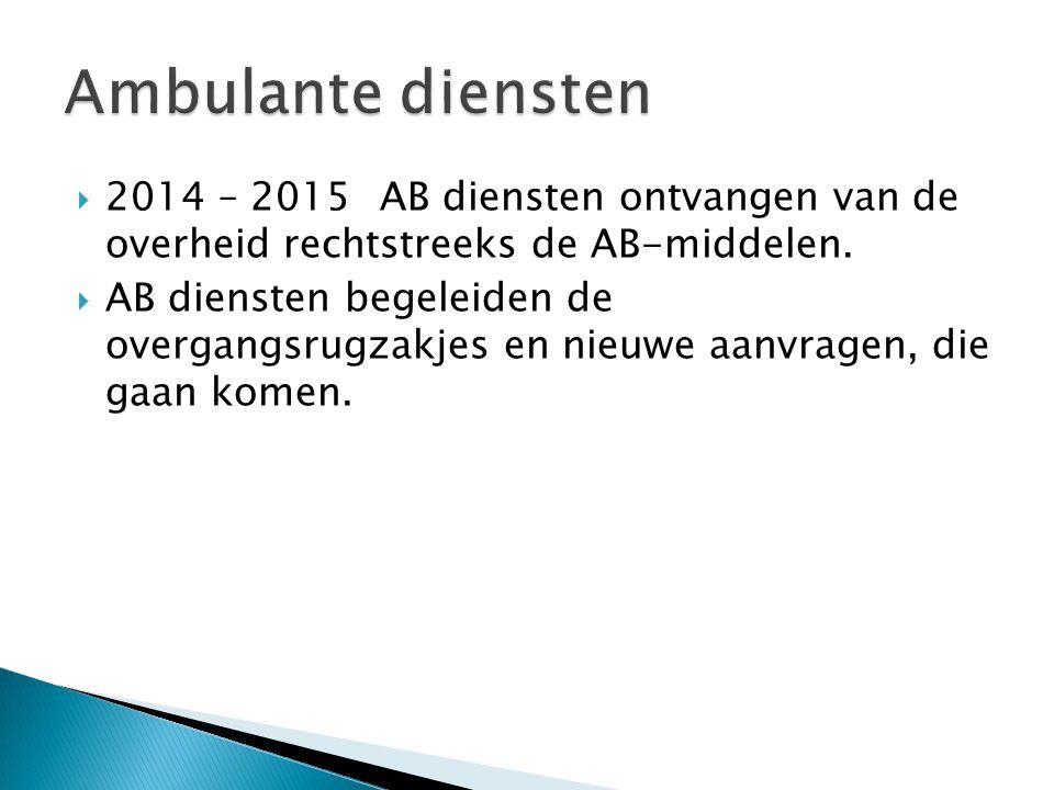  2014 – 2015AB diensten ontvangen van de overheid rechtstreeks de AB-middelen.  AB diensten begeleiden de overgangsrugzakjes en nieuwe aanvragen, di