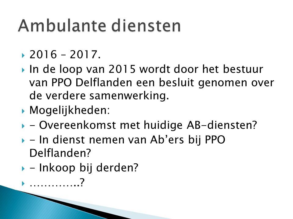  2016 – 2017.  In de loop van 2015 wordt door het bestuur van PPO Delflanden een besluit genomen over de verdere samenwerking.  Mogelijkheden:  -