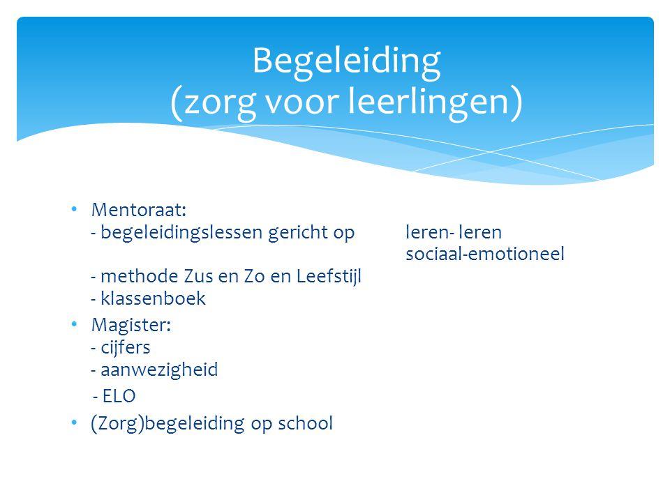 Mentoraat: - begeleidingslessen gericht op leren- leren sociaal-emotioneel - methode Zus en Zo en Leefstijl - klassenboek Magister: - cijfers - aanwez