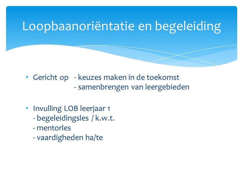 Loopbaanoriëntatie en begeleiding Gericht op - keuzes maken in de toekomst - samenbrengen van leergebieden Invulling LOB leerjaar 1 - begeleidingsles