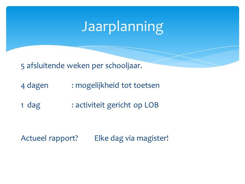 5 afsluitende weken per schooljaar. 4 dagen : mogelijkheid tot toetsen 1 dag : activiteit gericht op LOB Actueel rapport? Elke dag via magister! Jaarp