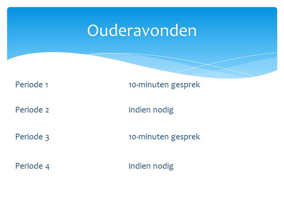 Periode 1 10-minuten gesprek Periode 2 indien nodig Periode 3 10-minuten gesprek Periode 4 indien nodig Ouderavonden