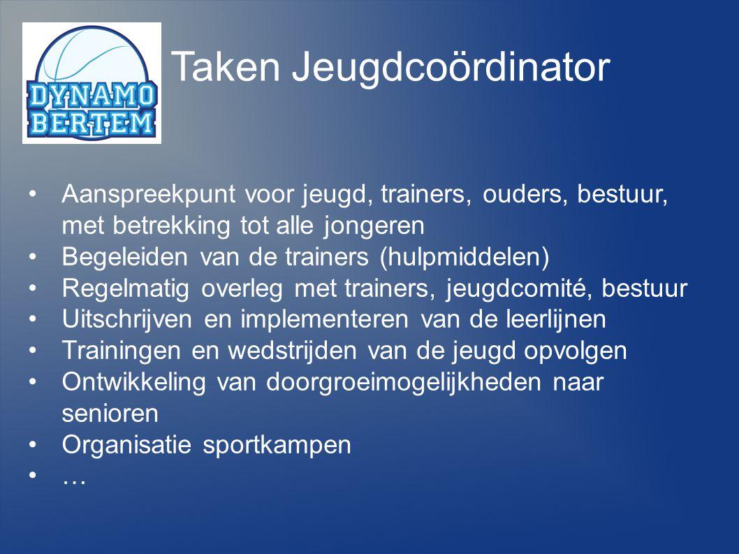 Taken Jeugdcoördinator Aanspreekpunt voor jeugd, trainers, ouders, bestuur, met betrekking tot alle jongeren Begeleiden van de trainers (hulpmiddelen)
