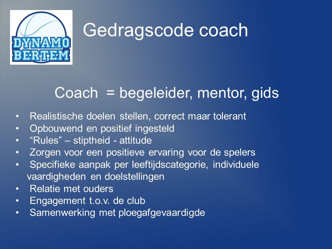 """Gedragscode coach Coach = begeleider, mentor, gids Realistische doelen stellen, correct maar tolerant Opbouwend en positief ingesteld """"Rules"""" – stipth"""