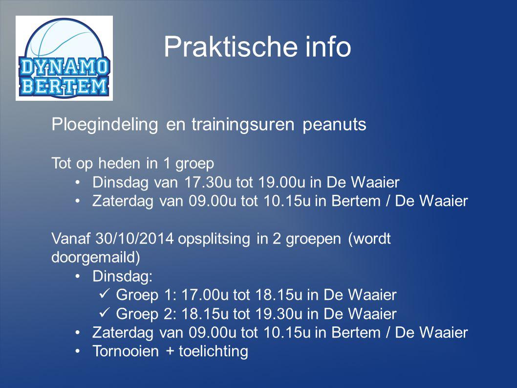 Praktische info Ploegindeling en trainingsuren peanuts Tot op heden in 1 groep Dinsdag van 17.30u tot 19.00u in De Waaier Zaterdag van 09.00u tot 10.1