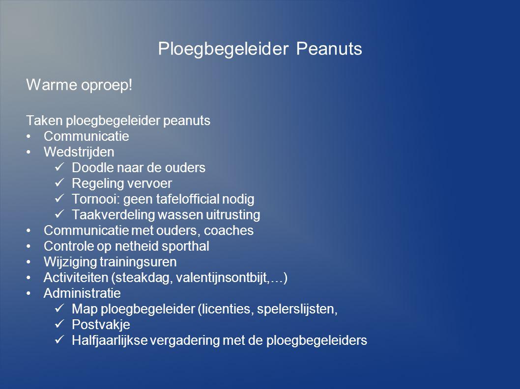 Ploegbegeleider Peanuts Warme oproep! Taken ploegbegeleider peanuts Communicatie Wedstrijden Doodle naar de ouders Regeling vervoer Tornooi: geen tafe