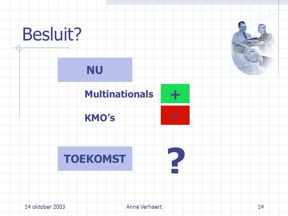 14 oktober 2003Anne Verhaert14 Besluit NU TOEKOMST Multinationals KMO's + -
