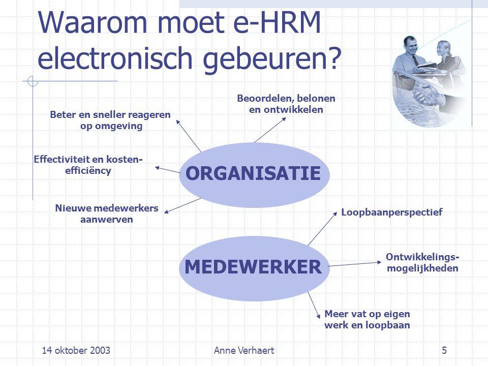 14 oktober 2003Anne Verhaert5 Waarom moet e-HRM electronisch gebeuren.